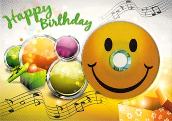 Happy Birthday Smiley DIN B6 mit CD-R